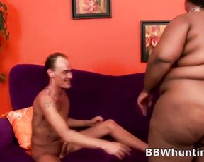 Slender man picks up black BBW and takes her home to get naked and nail