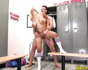 Trainer has a fantasy about naked basketball Ebony girl in locker room