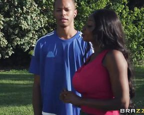 Black MILF with big knockers wants to enjoy white cock in naked twat