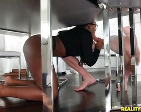 Black chick gives man blowjob under the table and he fucks naked cunt