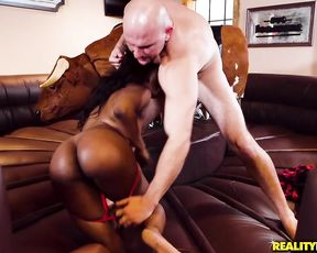 Black girl with naked tits has fun and bald stallion fucks her soon