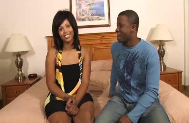 Adorable black girl shows guy cocksucking skills before naked sex