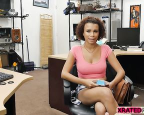 Black cutie sucks and rides man's cock being naked to receive a loan