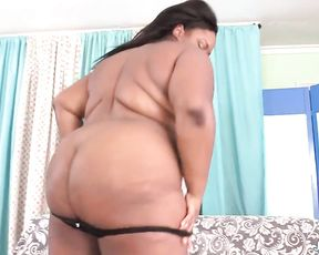 Ebony BBW shows beautiful naked tits then partner licks her pussy