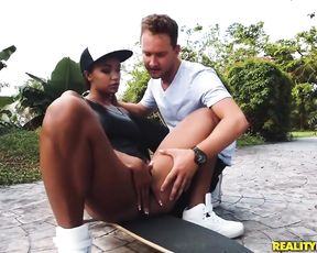 Porn video where guy uses cock to satisfy naked pussy of black bitch