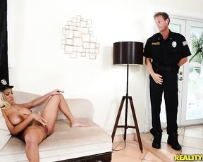 Naked girl with big black tits teases pussy and cop's cock visits it