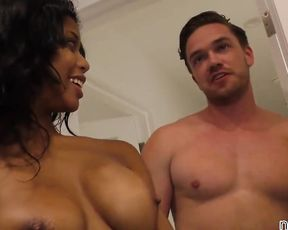 White guys see black lovely's naked tits and can't resist fucking her