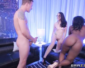 Ebony dancer is irresistible and couple can't help get naked for a threesome