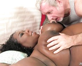 Old boy pays good money for sex on camera and naked black BBW agrees