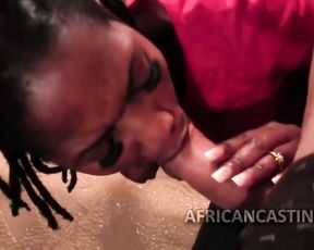 Naked Ebony girl of loose morals pleased with cock in mouth and pussy