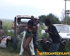 Flirtatious naked black female tries to escape electric shocks and cocks