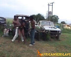 Pretty Ebony teen penetrated by naked boyfriend on local scramble