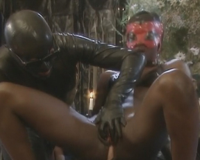 Naked Ebony slave takes part in nasty threesome with strange partners