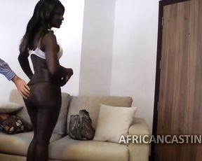 Black woman comes at casting where she gets naked and impaled by agent