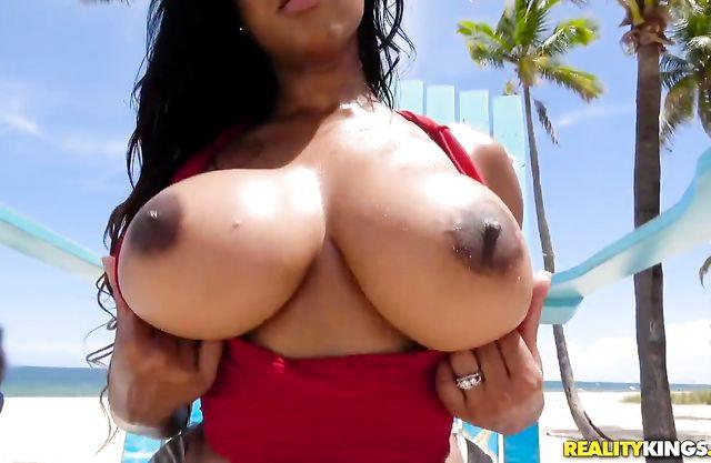 Naked Ebony stunner with amazing assets worships big white penis