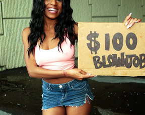 Ebony prostitute with natural boobs wants hundred dollars for naked sex