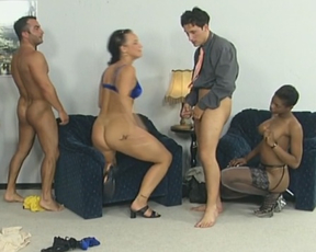Ebony slut and white friend get naked and humped by two boys