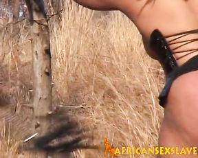 Ebony cutie with hot temper tastes loves naked BDSM games in nature