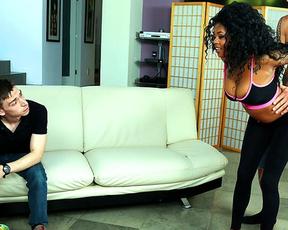 Classy black goddess cheats on weak boyfriend with naked roommate
