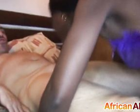 Naked buddy lets black beauty gag on every inch of his hard manhood