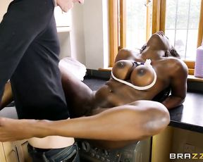 Ebony MILF with huge naked tits catches peeping neighbor and enjoys cock