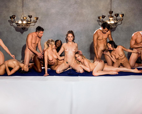 Sexy babe visits and participates in a raunchy last supper orgy