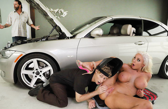 His cheating wife gets fucked ny his car mechanic in the garage behind his back