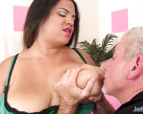 Older womanizer finds a black BBW and fucks naked pussy with pleasure