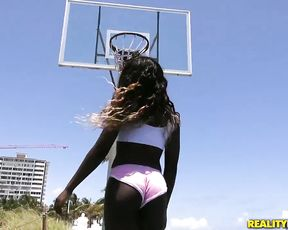 Ebony chick and friend play basketball before interracial naked sex