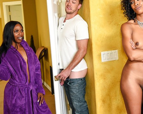 Black stepmom watches naked girl riding cock and seduces her boyfriend