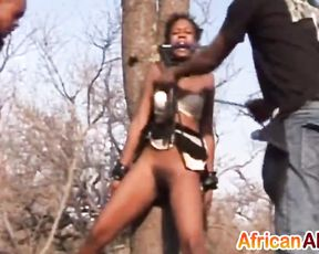 Ebony girl with hairy naked pussy is fucked from behind at safari