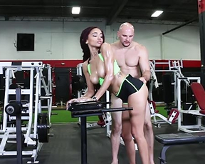 Bald coach satisfies naked black disciple in the middle of empty gym