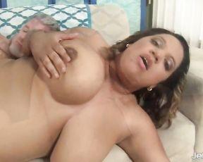 Voluptuous Ebony beauty impaled all over sofa by naked white partner