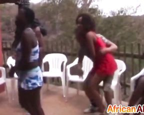 Amateur Ebony sluts take part in naked sex party with aroused guys