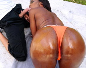 Oiled up Ebony beauty fucked by naked partner in hottest positions