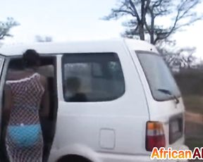 Three Ebony chicks arrive on safari to have group sex with naked guys