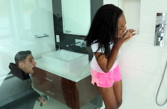 Black-skinned babe with hot tits and bubble butt fucked naked by plumber
