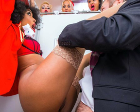 Black stewardess caught by colleagues fucking naked in the restroom