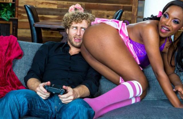 Naked ebony teen enjoying his boyfriend's penis in her pussy