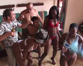 Group sex in a home party with hot naked ebony chicks everywhere