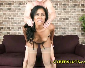 Nice black girl in stockings is fucked in naked snatch on camera