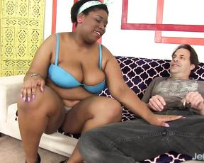 Black diva with hot temper is so naked that white man can't stop fucking her