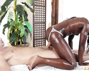 Ebony masseuse with naked tiny boobs knows more than anybody about sex-massage