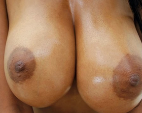 Smiley girl with pretty Ebony boobies gives pussy to naked white fucker