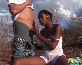 Ebony sluts go on safari and practice naked foursome in the fresh air