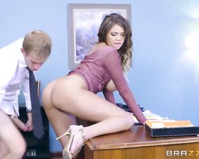 Office sex of big-cocked boss and black assistant with naked melons