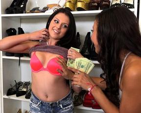 Cute Ebony girl sucks cock for money then naked brunette joins her