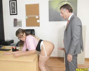 Rude Ebony secretary caught masturbating and jazzed by naked boss in office
