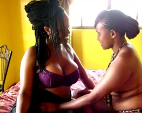 Lesbian ebony sluts eat eachother's pussies on the bed and love it