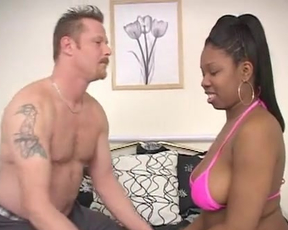 Ebony slut gets her pussy destroyed by a big fat white cock until she cums